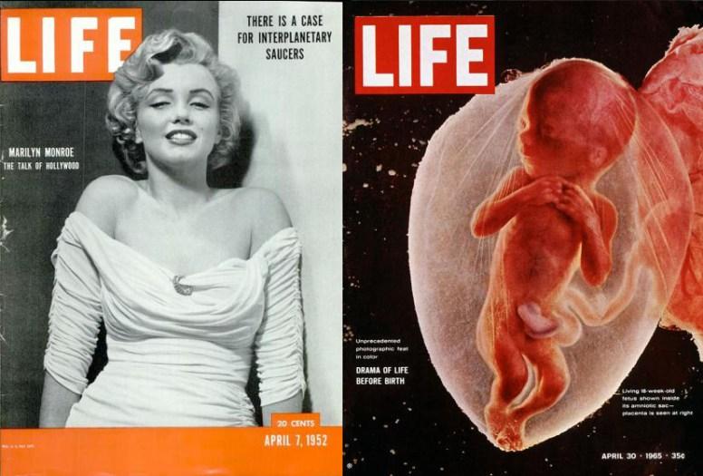 Izquierda: 7 de abril de 1952. Foto: Philippe Halsman. Derecha: 30 de abril de 1965. Foto: Lennart Nilsson