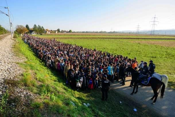 Refugiados escoltados por la policía tras cruzar la frontera entre Croacia y Eslovenia. AFP - Jure Makovec.