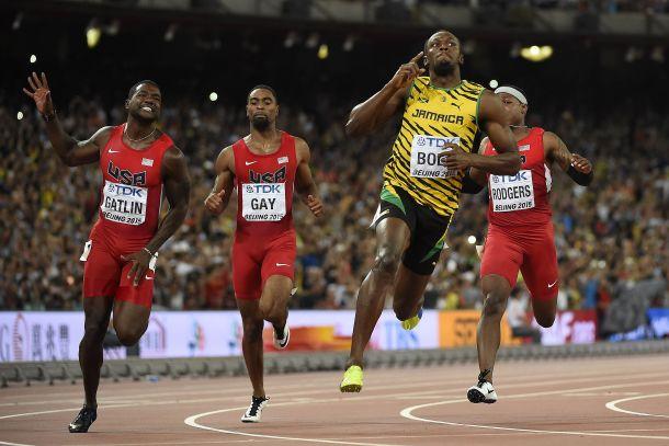 Usain Bolt tras ganar el campeonato de los 100 metros lisos. AFP - Olivier Morin.