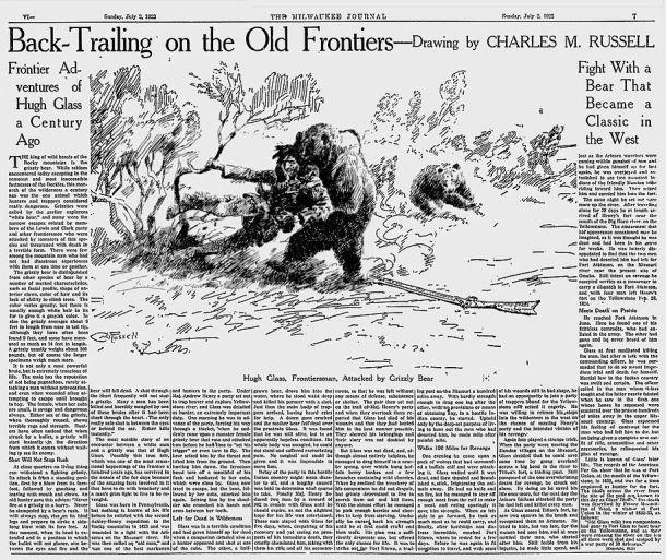 Publicación de la historia de Hugh Glass en 1922