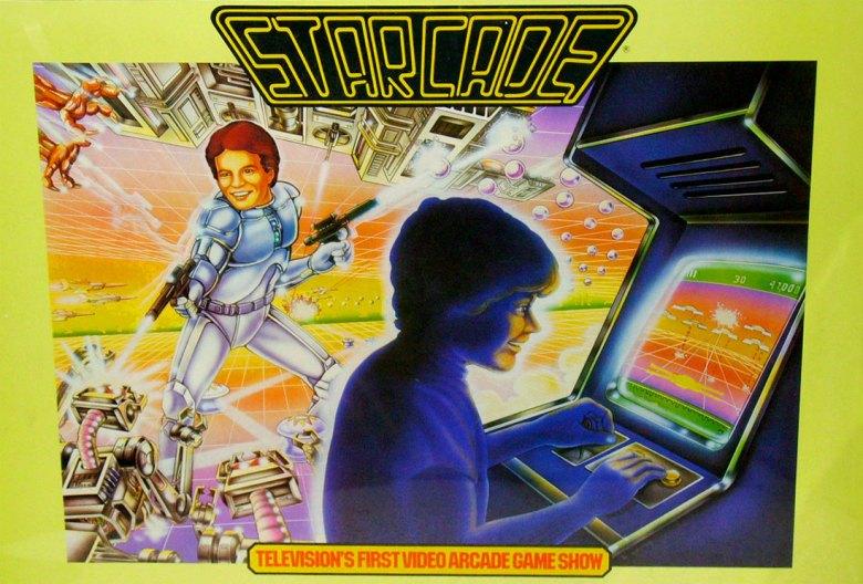 Poster promocional para el primer show televisivo dedicado a la competición de videojuegos. Starcade.