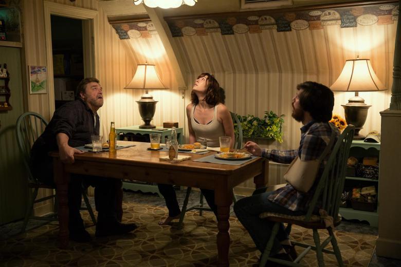 John Goodman as Howard; Mary Elizabeth Winstead as Michelle; and John Gallagher Jr. in 10 CLOVERFIELD LANE; by Paramount