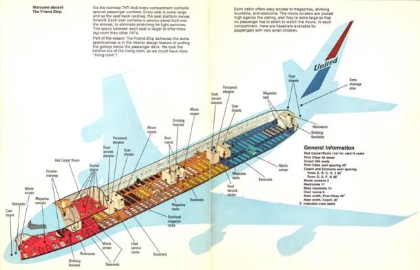 """""""Bienvenido a bordo de la aeronave amiga"""". United Airlines presentando el 747 a sus viajeros."""