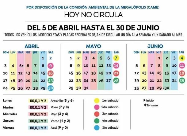 Calendario Hoy No Circula