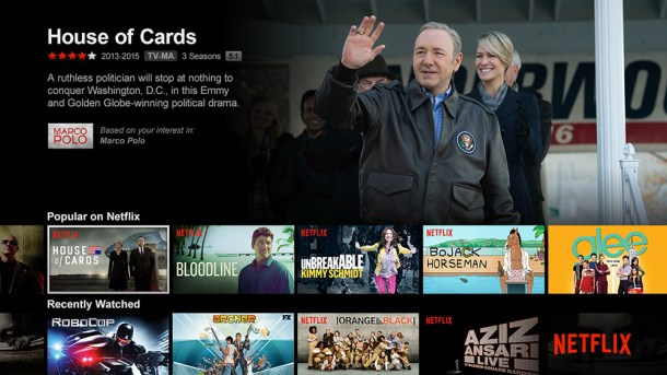 Apariencia de la plataforma de Netflix