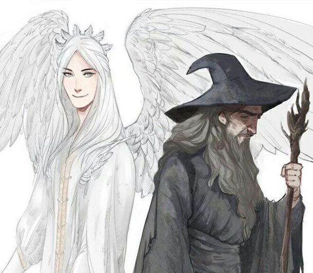 Olorin, la forma original de Gandalf, y Gandalf.