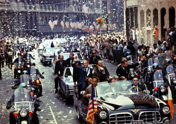 Ticker tape parade in New York City in honor of the Apollo 11 astronauts, August 1969.