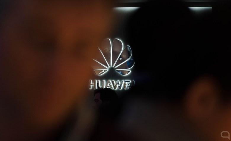 Logo de Huawei durante el MWC 2019