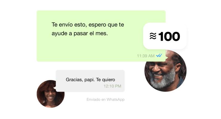 Ejemplo del uso de Diem en WhatsApp