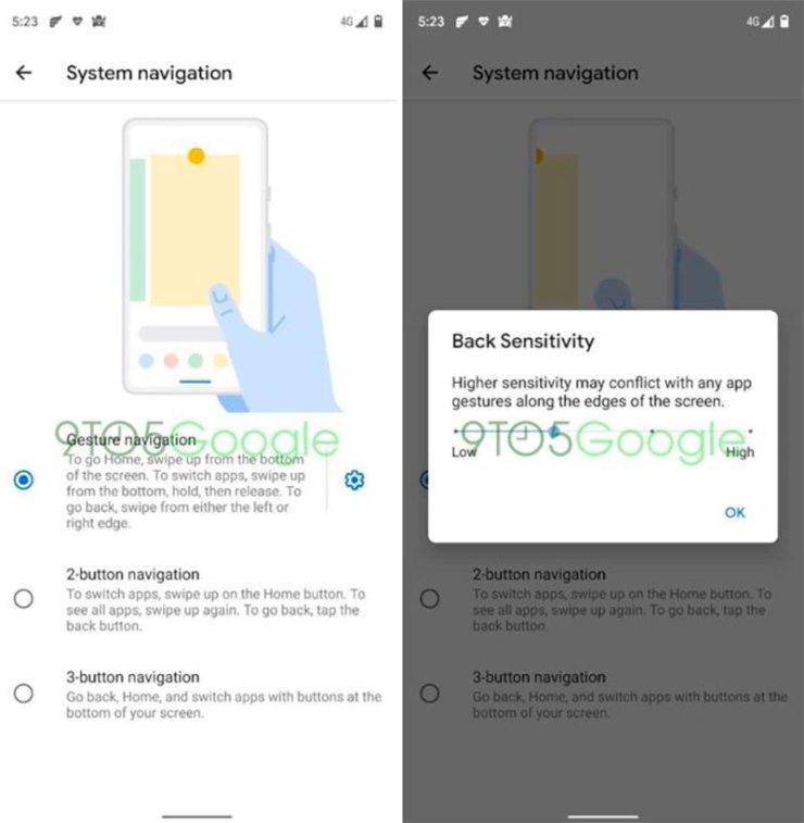 Android Q sensibilidad