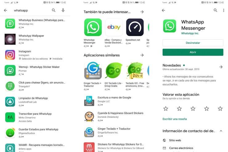 Capturas de pantalla de WhatsApp en la Play Store