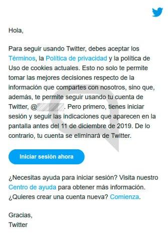 Borrado cuentas username Twitter