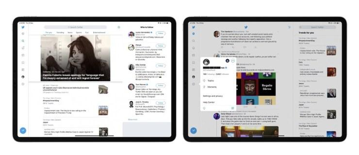 Nuevo diseño de Twitter para iPad