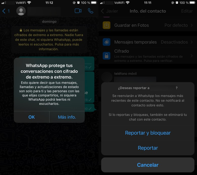 WhatsApp, end-to-end encryption and message reporting