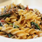Fusilli Pasta with Spinach Tomatoes and Mushrooms
