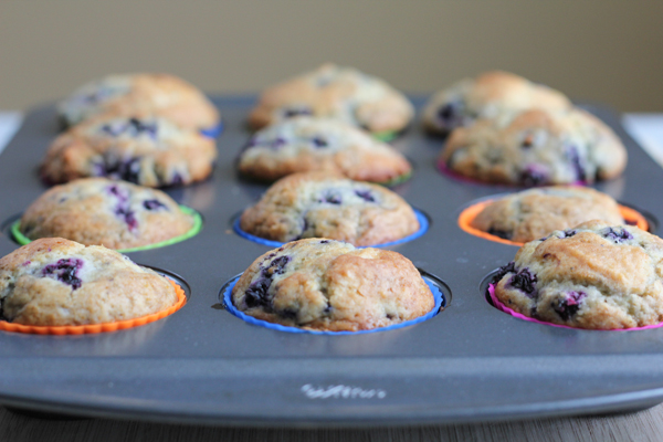 Lemon Blueberry Muffins out of oven   HipFoodieMom.com