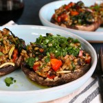 Vegetarian Stuffed Portobello Mushrooms! Packed withsautéedvegetables, farro and seasoned withTony Chachere's No Salt Seasoning Blend! You're going to love these!