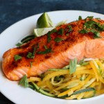 Baked Salmon with Spiralized Veggies! This is one of my go-to meals because it's so easy, quick and delicious!Rich in Omega-3 Fatty Acids and a great source of protein, you should definitely go pick up some salmon today!