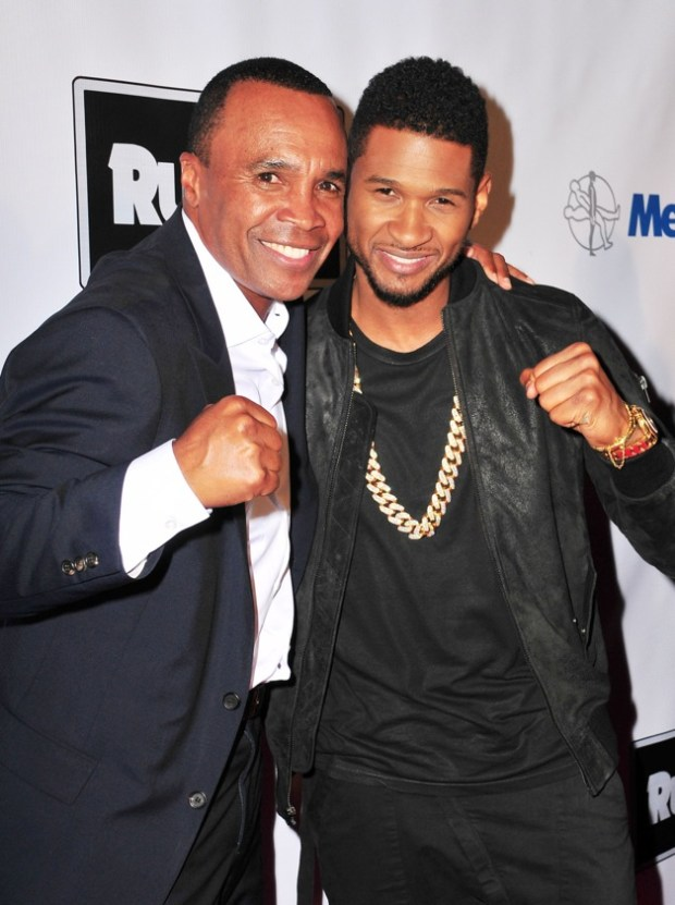 Sugar Ray Leonard and Usher attend B. Riley & Co. & The Sugar Ray Leonard Foundation Present The 4th Annual 'Big Fighters, Big Cause' Charity Fight Night To Benefit Juvenile Diabetes at Santa Monica in Los Angeles