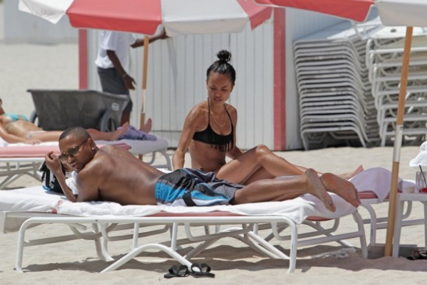 Chris Brown's on/off girlfriend, Karrueche Tran showing off her incredible bikini body on Miami Beach