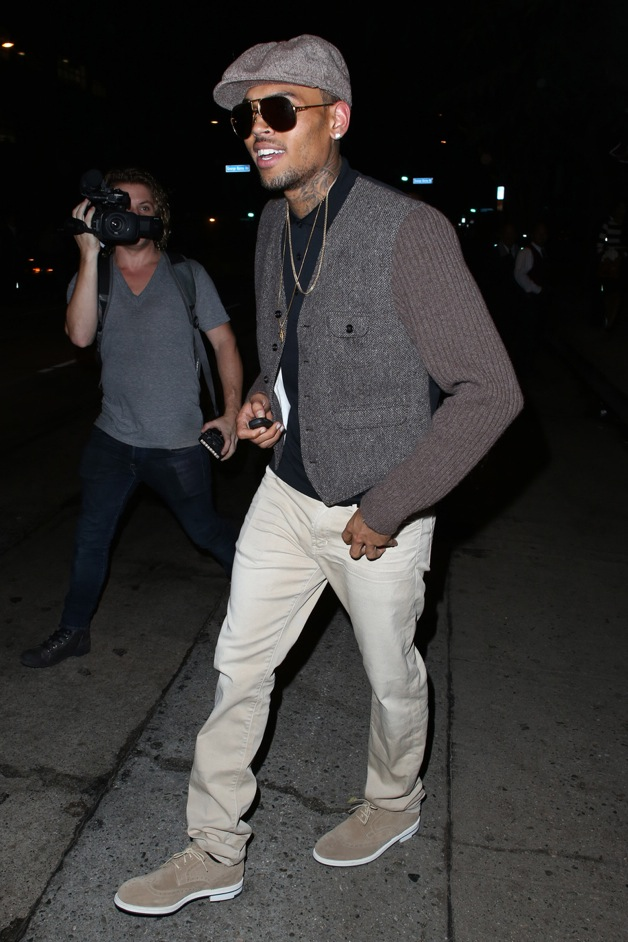 Chris Brown leaves the Hooray Henry's night club in West Hollywood
