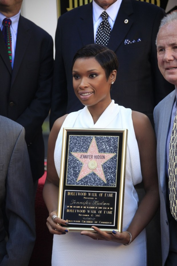 Jennifer Hudson poses with as she is honored with a star on The Hollywood Walk of Fame