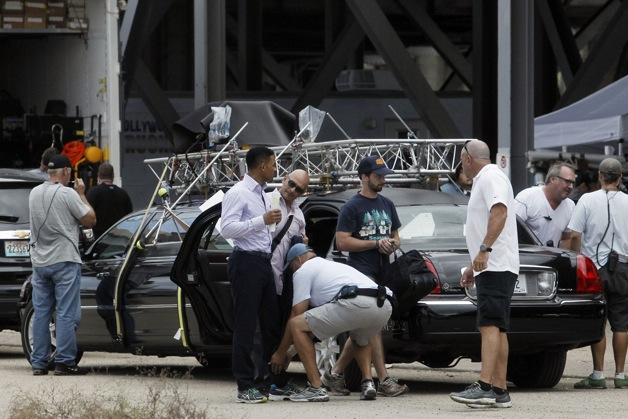 Will Smith films a driving scene in a limo for his feature film 'Focus' being shot in New Orleans