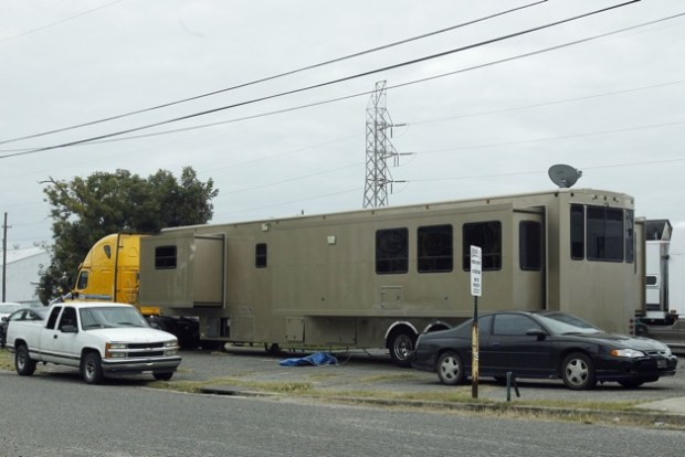 Will Smith seems to be working on a budget as his small trailer is seen on the set of 'Focus' in New Orleans. The 'After Earth' actor usually kicks back on set in a $2.5 million, 2 story trailer nicknamed 'The Heat.'