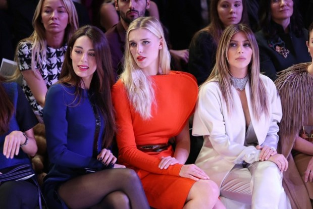 Sofia Essaidi, Kimberly Kardashian and Gaia Weiss at Stephane Rolland Womenswear Spring/Summer 2014-2015 Fashion show during Paris Fashion Week at Palais de Chaillot