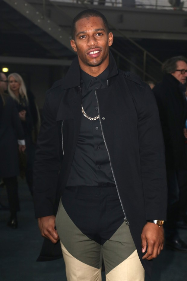 "Victor Cruz seen at the ""Givenchy"" fashion show during the Paris Fashion Week in Paris"