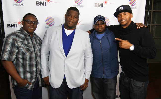 "Pictured at peermusic's Burbank office (L-R) are: BMI Senior Director Writer/Publisher Relations, Malik Levy, Salaam Remi, Mike City and Director of A&R Pop/Urban, Vincent ""Tuff"" Morgan."