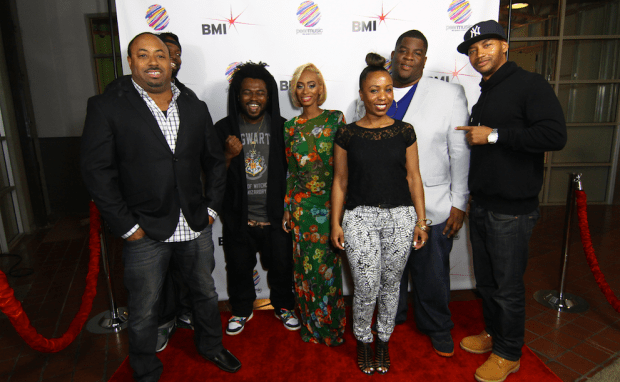 """Pictured at peermusic's Burbank office (L-R) are: Senior Creative Director of Film & TV, Jerome Spence, Larrance and James Fauntleroy of 1500 or Nothin, 1500 or Nothin's new artist Rebekah Muhammad, BMI Director Writer/Publisher Relations, Nicole Plantin, Salaam Remi and Director of A&R Pop/Urban, Vincent """"Tuff"""" Morgan."""