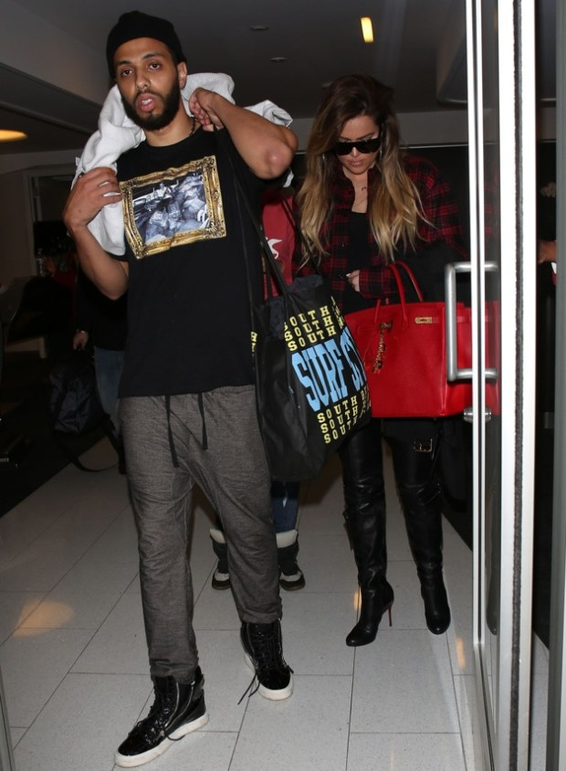 Khloe Kardashian and boyfriend French Montana seen leaving LAX airport in Los Angeles