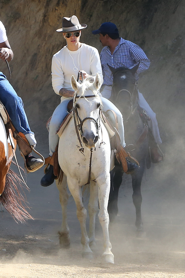 Justin Bieber goes for a horseback ride in the Hollywood Hills