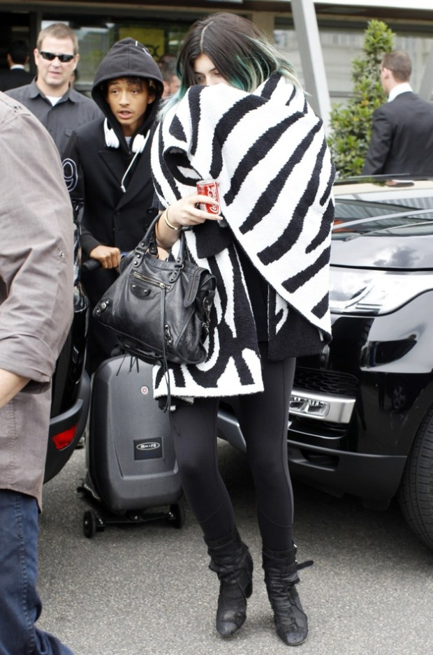 Kendell Jenner and Jaden Smith arrive at Le Bourget airport in France after attending Kim Kardashian's wedding in Florence
