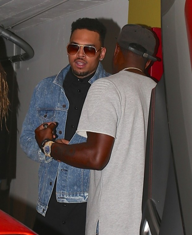 Chris Brown seen leaving Emerson night club after having a night out with friends in Hollywood