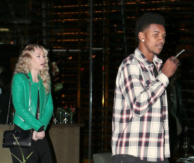 **EXCLUSIVE** Rumored new couple Iggy Azalea and Nick Young have dinner at BOA steakhouse in Los Angeles
