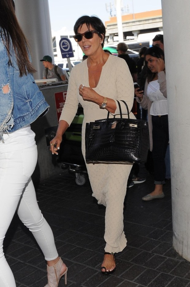 Kendall Jenner, Kris Jenner and Kim Kardashian seen leaving the LAX airport in Los Angeles