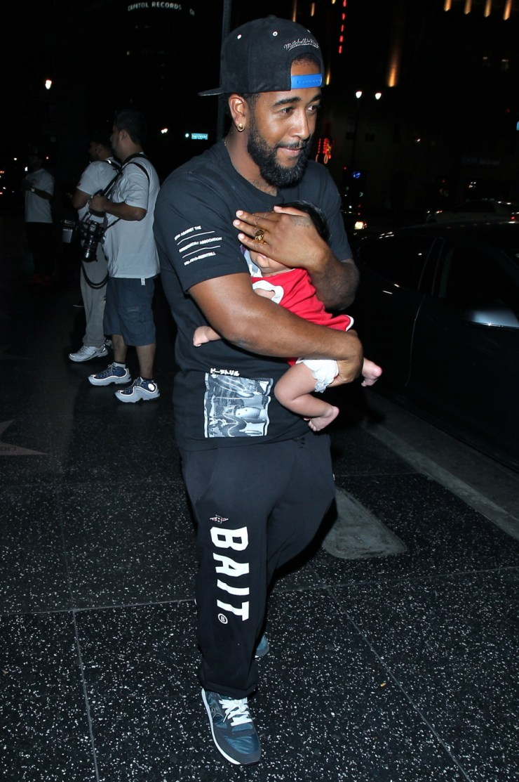 Omarion, former member of R&B group B2K, seen leaving Katsuya with his newborn son in Hollywood