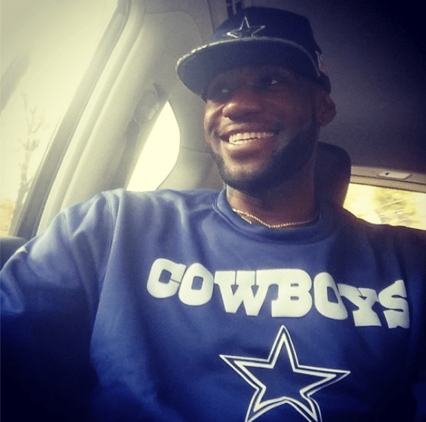 """NBA star LeBron James is a huge Cowboys fan. This weekend, following the team's 30-23 victory against the Seahawks, James wrote on Instagram: When someone say """"Man your Cowboys stink!!"""" I say """"Yeah I know we do sitting at 5-1. Hahaha"""" #WeDemBoyz #StriveForGreatness."""