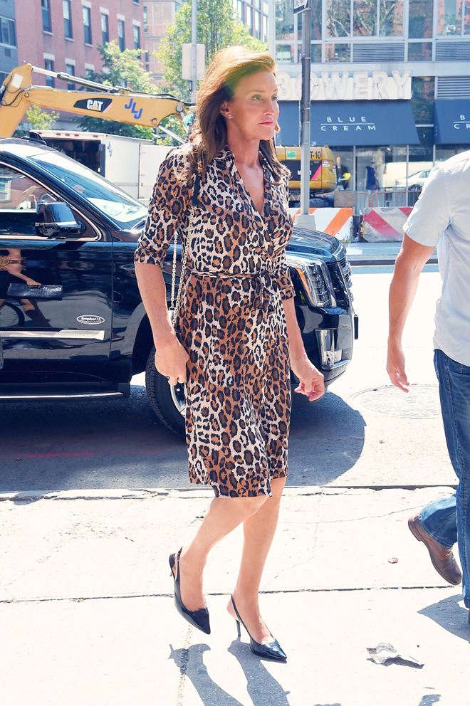 139418, Caitlyn Jenner seen out and about in NYC wearing a leopard print dress and black slingback heels. New York, New York - Tuesday June 30, 2015. Photograph: © RGK, PacificCoastNews. Los Angeles Office: +1 310.822.0419 sales@pacificcoastnews.com FEE MUST BE AGREED PRIOR TO USAGE