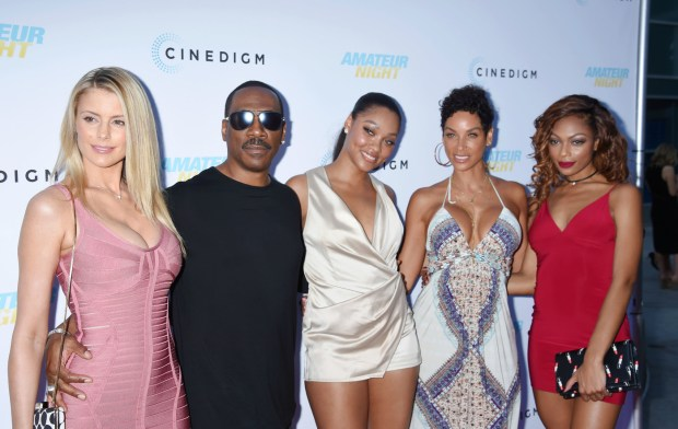155390, Paige Butcher, Eddie Murphy, Bria L. Murphy, Nicole Mitchell Mur at the premiere of Cinedigms Amateur Night at the ArcLight Cinemas in Hollywood. Los Angeles, California - Monday July 25, 2016. Photograph: © Joe Sutter, PacificCoastNews. Los Angeles Office (PCN): +1 310.822.0419 UK Office (Photoshot): +44 (0) 20 7421 6000 sales@pacificcoastnews.com FEE MUST BE AGREED PRIOR TO USAGE