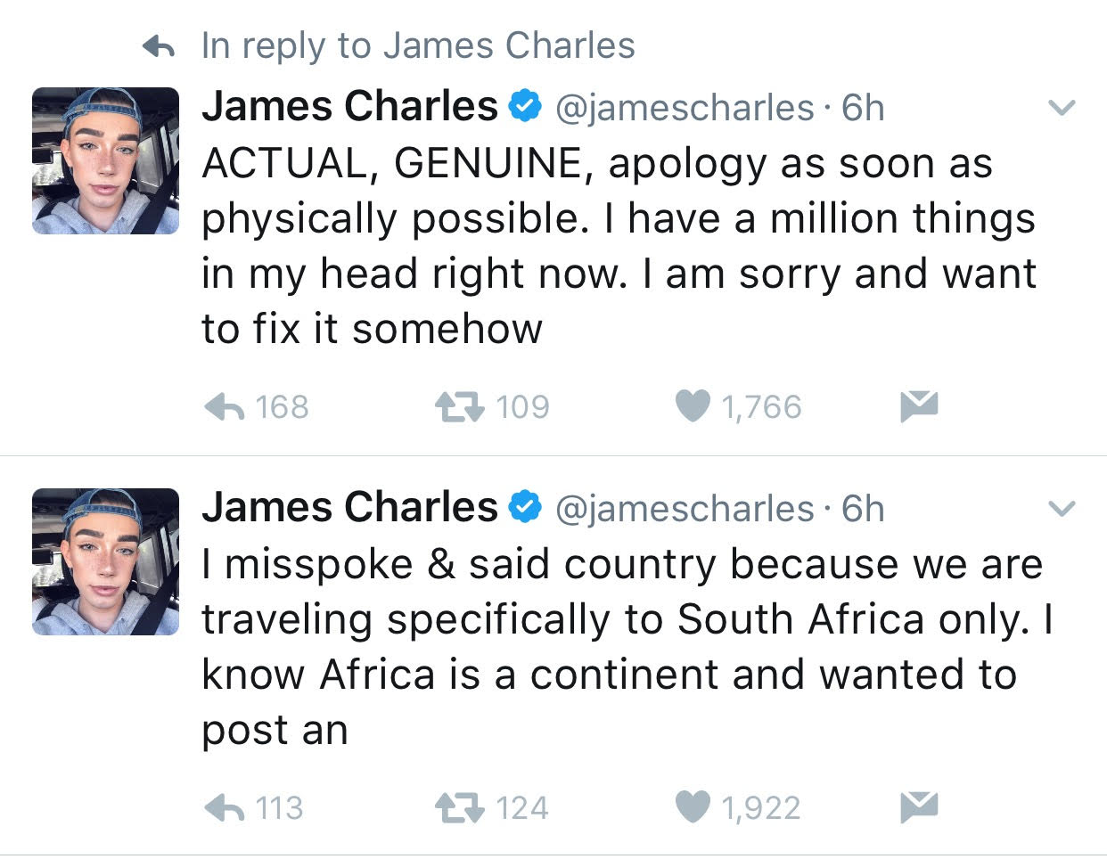 Influencer And Cover Girl Spokesman James Charles Apologizes For
