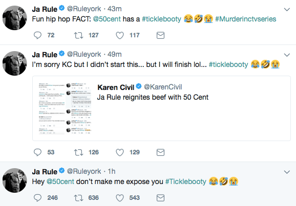"Ja Rule Just Called ""Tickle Booty"" 50 Cent A ""Pu$$y"" In New Heated Twitter Tirade"
