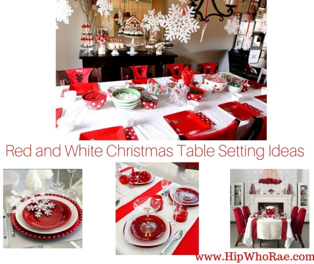 red and white Christmas table settings