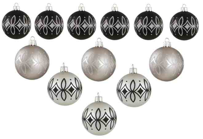 these silver and black christmas baubles look so elegant i really love them - Silver Christmas Decorations
