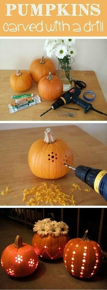 Pumpkins Carved with a Drill- Might need a little practice but easy once you know how.