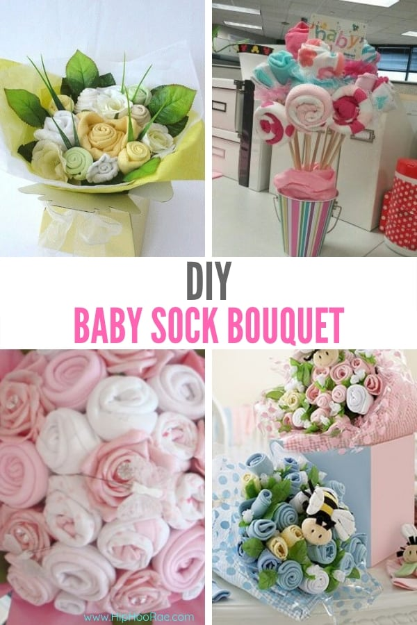 DIY Baby Sock Bouquets - Flower Bouquets made with Baby Socks