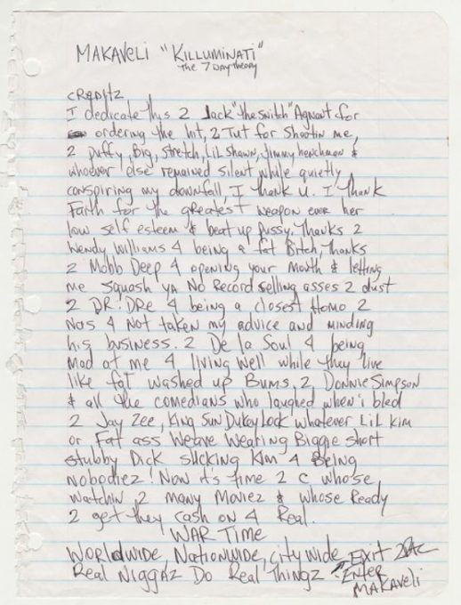 Tupac Original 7 Day Theory Liner Notes don killuminati dr dre biggie jay z diddy puff daddy 2pac