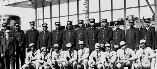 A large group of Pullman Porters. (A. Philip Randolph Pullman Porter Museum Founding Collection)